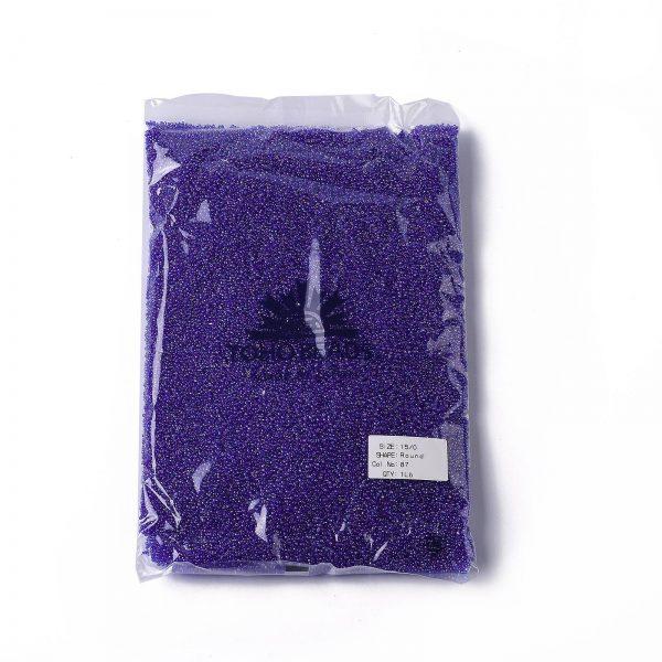 SEED TR15 0087 4 TOHO #87 15/0 Transparent AB Cobalt Round Seed Beads, 450g/bag