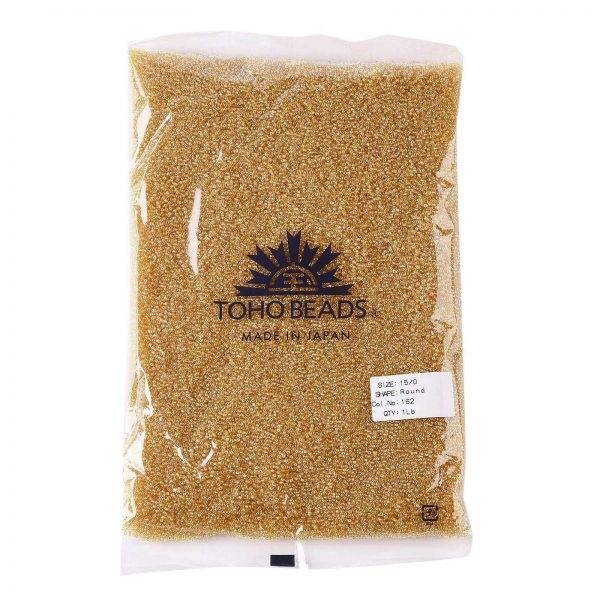 SEED TR15 0162 4 TOHO #162 15/0 Transparent AB Light Amber Round Seed Beads, 450g/bag