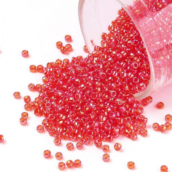 SEED TR15 0165 TOHO #165 15/0 Transparent AB Light Siam Ruby Round Seed Beads, 10g/bag