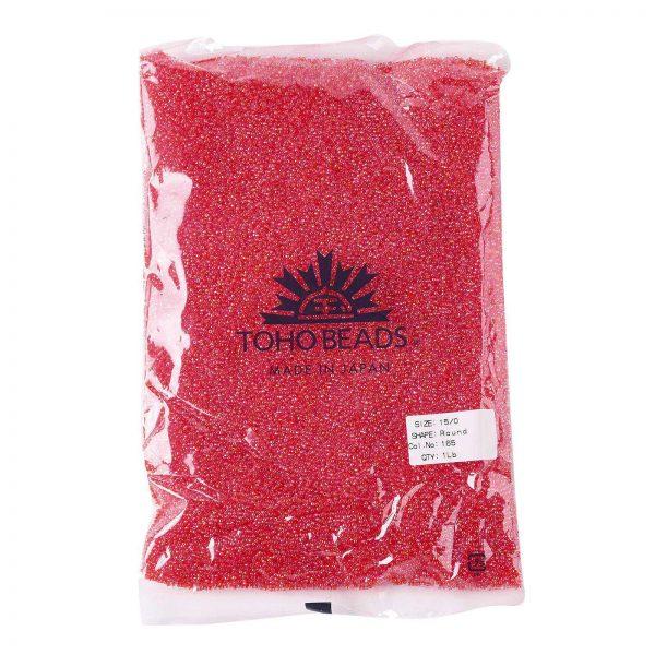 SEED TR15 0165 4 TOHO #165 15/0 Transparent AB Light Siam Ruby Round Seed Beads, 450g/bag