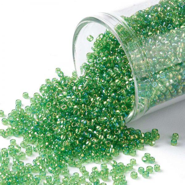 SEED TR15 0167 TOHO #167 15/0 Transparent AB Peridot Round Seed Beads, 10g/bag