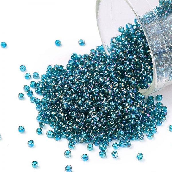SEED TR15 0167BD TOHO #167BD 15/0 Transparent AB Teal Round Seed Beads, 10g/bag