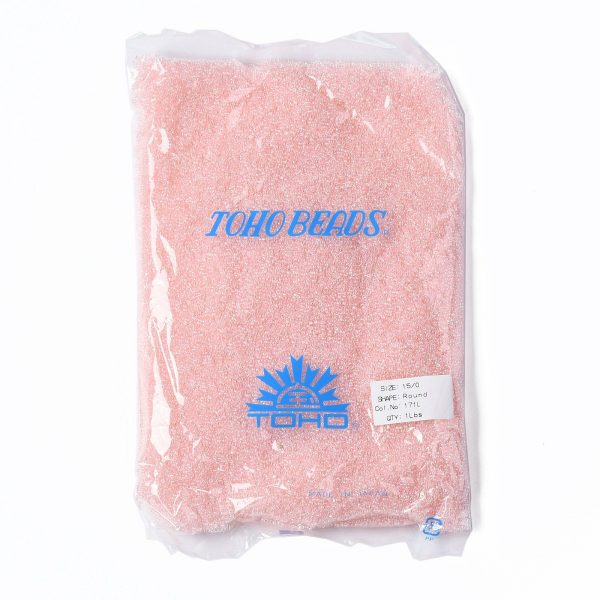 SEED TR15 0171L 4 TOHO #171L 15/0 Dyed Light Pink Transparent Rainbow Round Seed Beads, 450g/bag