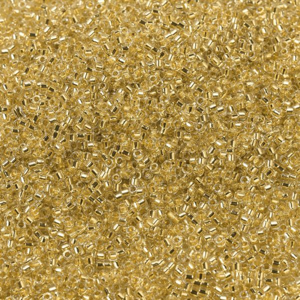 SEED X0054 DB0033 1 MIYUKI DB0033 Delica Beads 11/0 - Transparent 24kt Gold Lined Crystal, 50g/bag