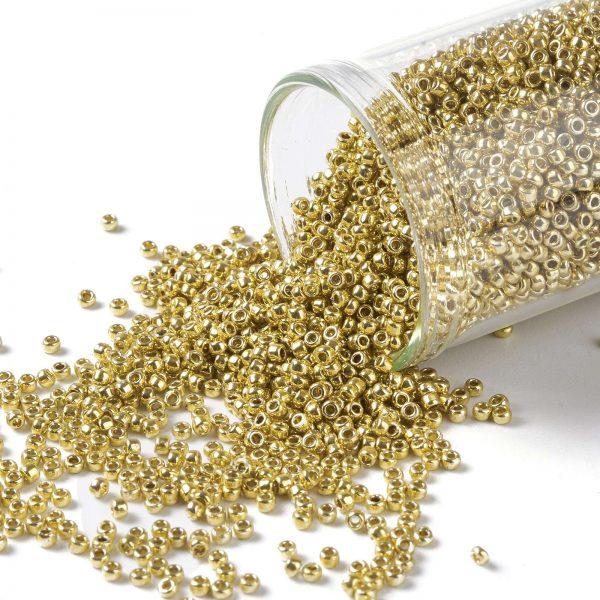 X SEED TR15 PF0557 TOHO #PF557 15/0 Permafinish Opaque Galvanized Starlight Round Seed Beads, 10g/bag